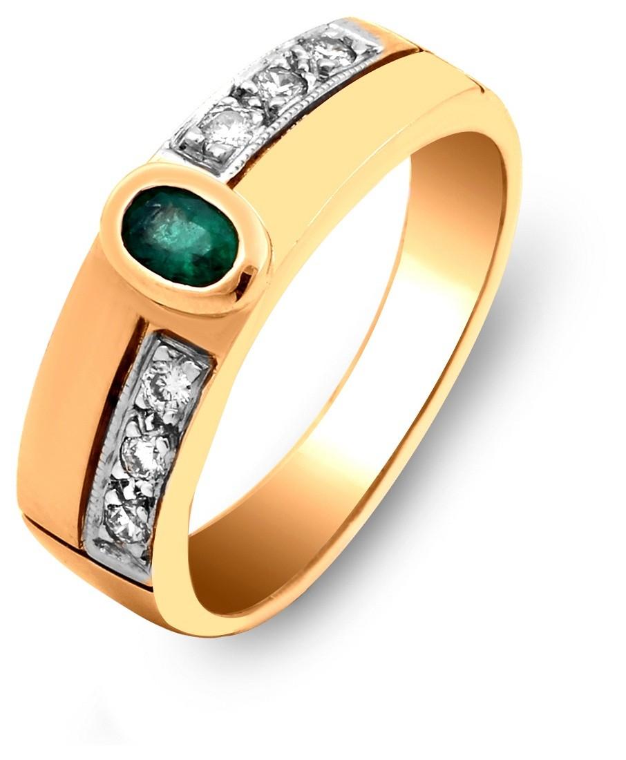cc349e5dd020 Кольцо из комбинированного золота с бриллиантами и изумрудом 016770 ...
