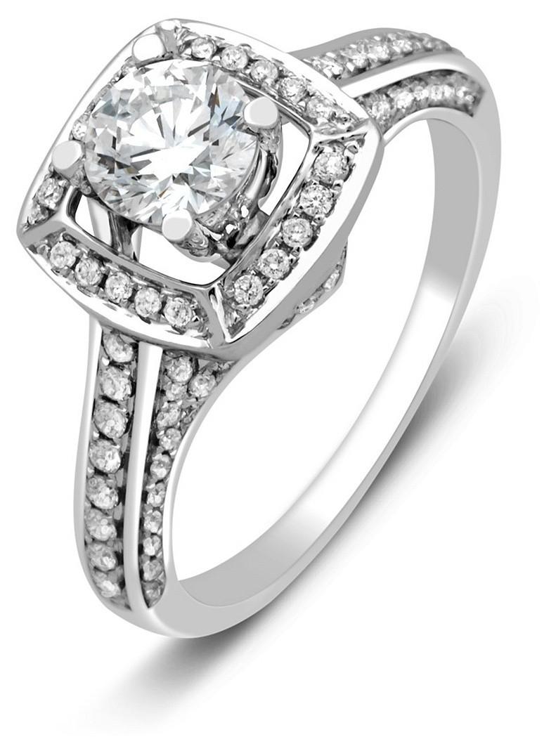 Помолвочное кольцо из белого золота с бриллиантами 023698   ЗлатоГрад 704613b9ce3