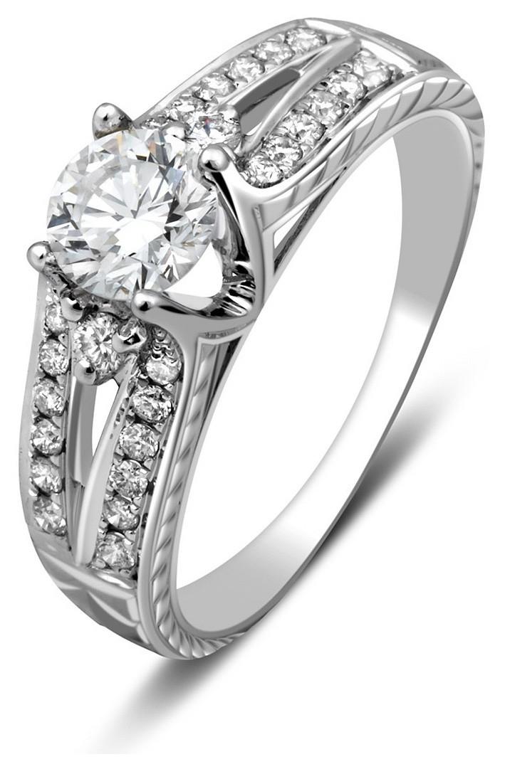 Помолвочное кольцо из белого золота с бриллиантами 023610   ЗлатоГрад 35b1aee2f7c