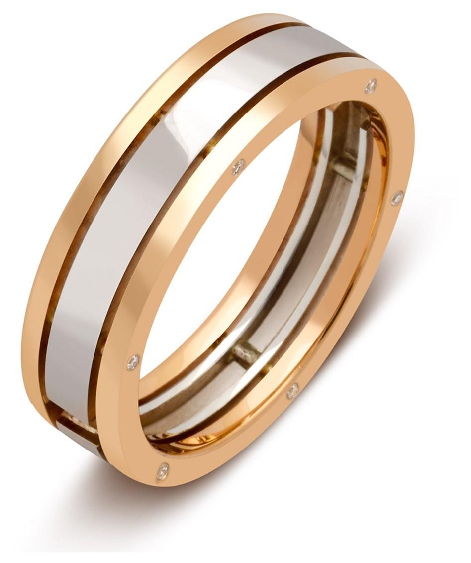60c3cb49a804 Обручальное кольцо из комбинированного золота с бриллиантами 027595 ...