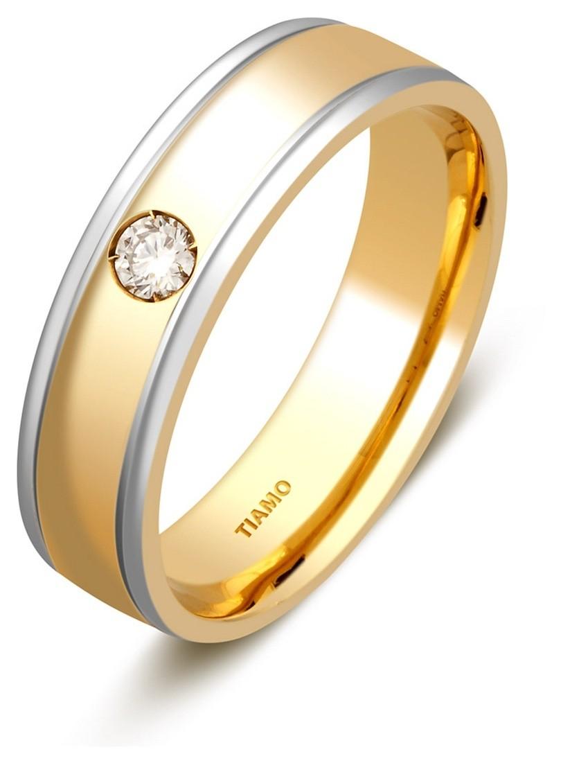 3626fad98c0a Обручальное кольцо из комбинированного золота 750 пробы с бриллиантом TIAMO  (005379)