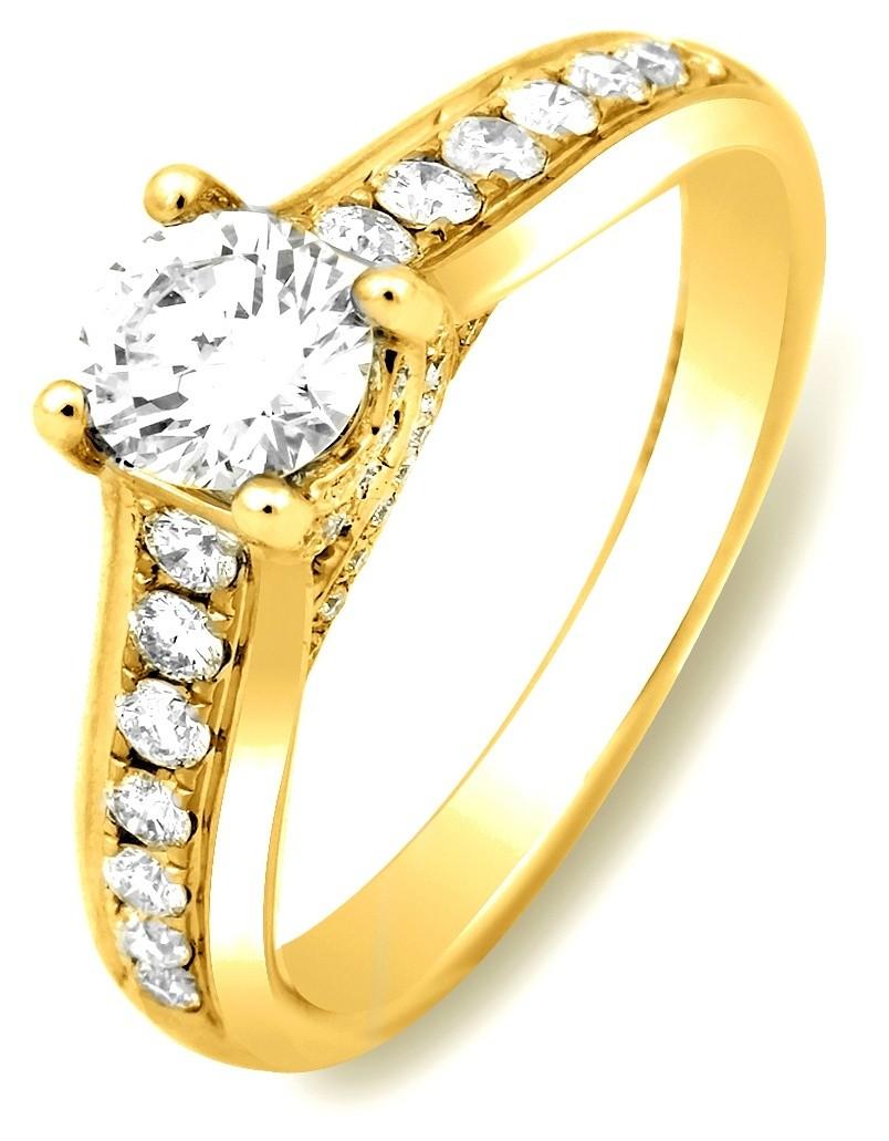 золотые кольца с бриллиантом цена