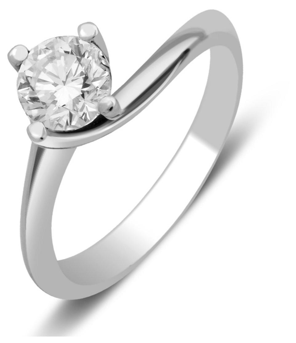 Помолвочное кольцо из белого золота с бриллиантом 027225   ЗлатоГрад cefe566c781