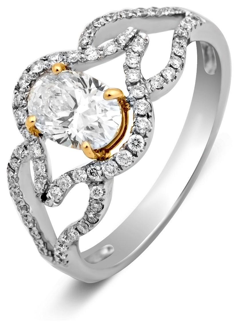Помолвочное кольцо из белого золота с бриллиантами 023487   ЗлатоГрад 46f0581b540