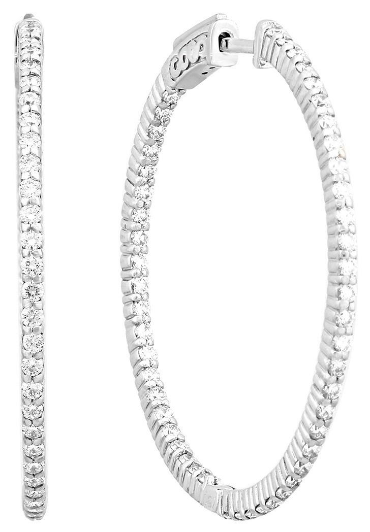 Серьги конго из белого золота с бриллиантами 023464   ЗлатоГрад 1ad6f173888