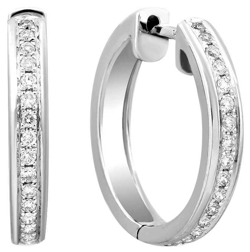 Серьги конго из белого золота с бриллиантами 024336   ЗлатоГрад 56aa83f2be5