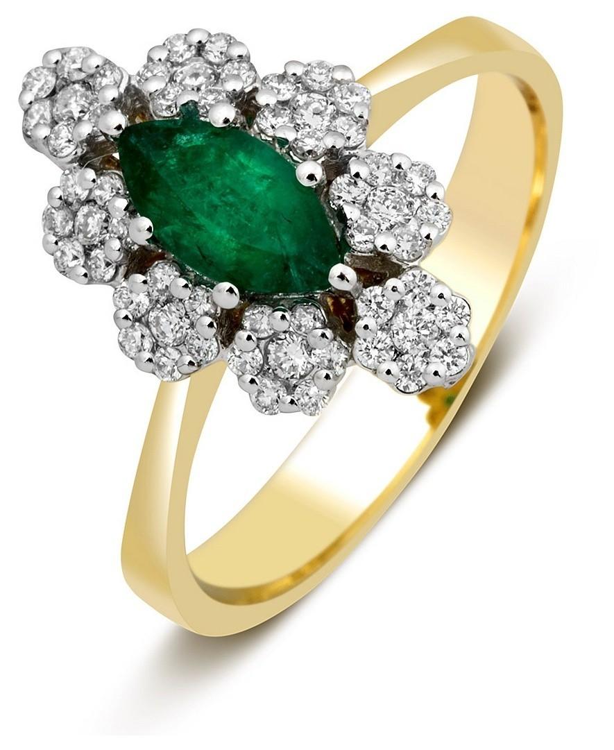 273db2062e65 Кольцо из комбинированного золота с бриллиантами и изумрудом 023335 ...