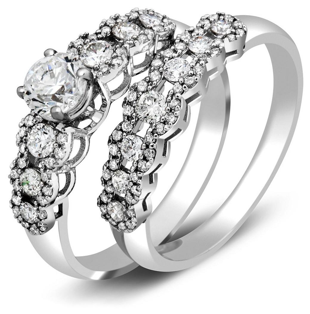 ... Помолвочное и обручальное кольца из белого золота с бриллиантами  (023588) ... ed7cbff49b9