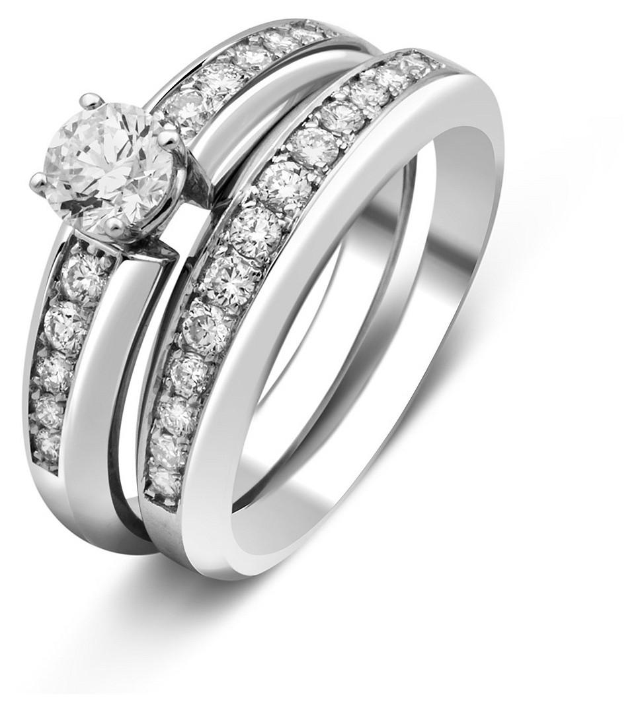 149dd361fdf0 Комплект  помолвочное и обручальное кольца из белого золота с бриллиантами  (025395)