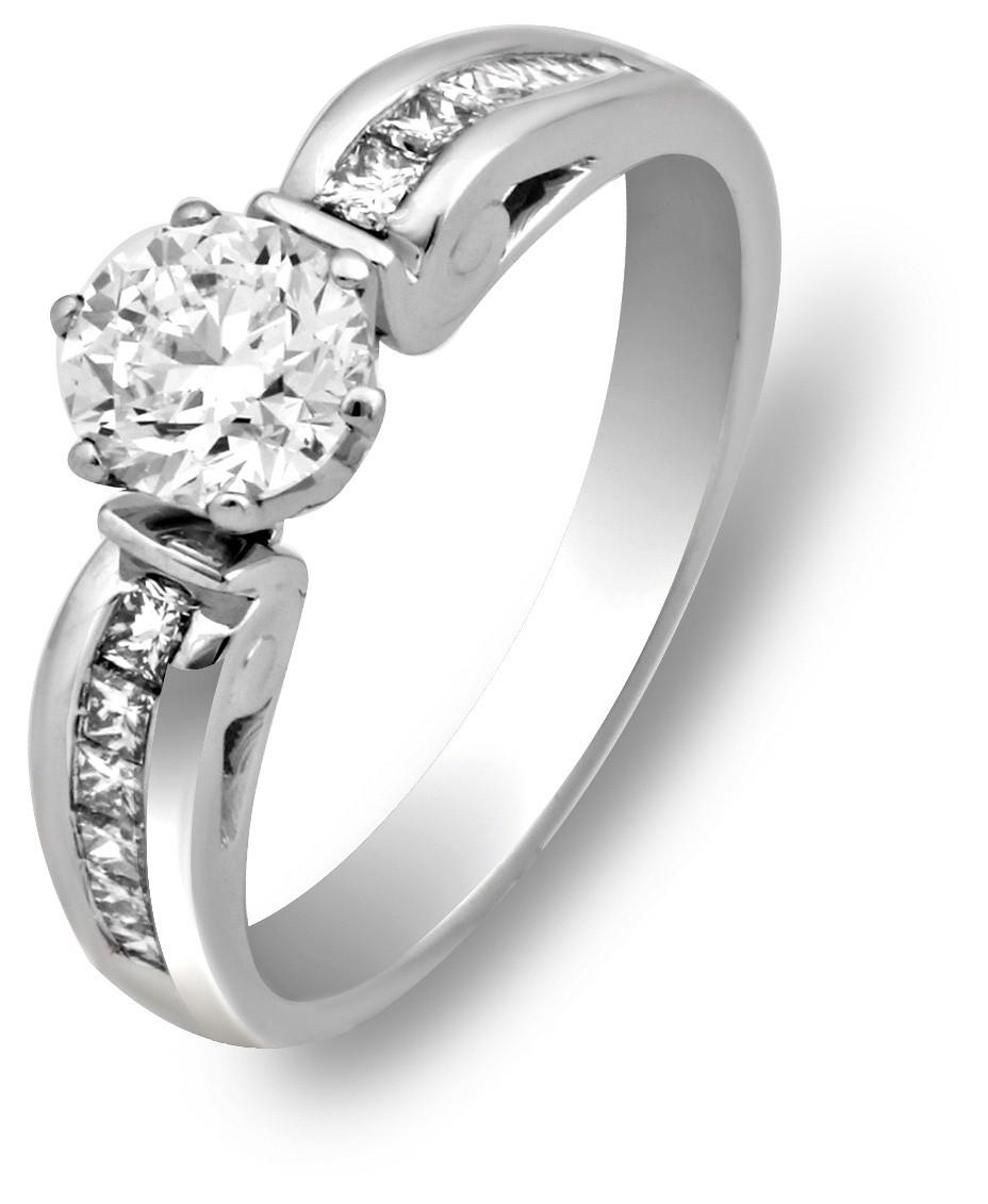 Помолвочное кольцо из белого золота с бриллиантами 007176   ЗлатоГрад fc9a3eedef9