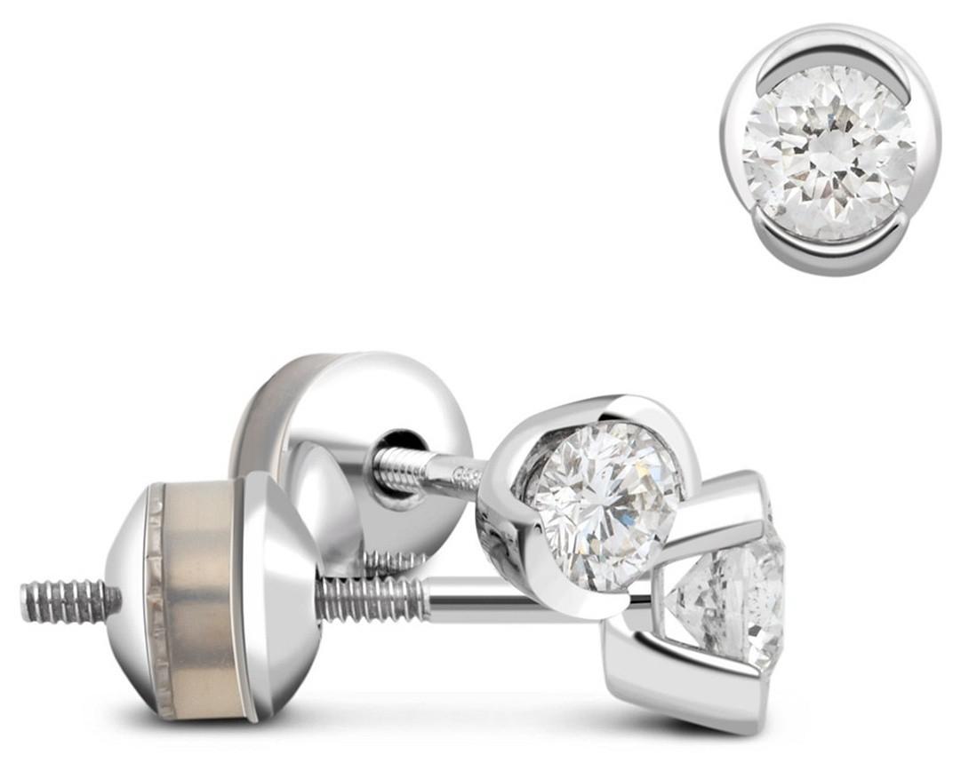 Пусеты белое золото с бриллиантами