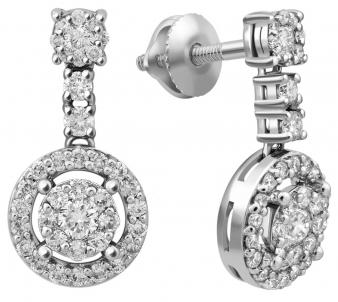 a345f976a3b8 Пусеты из белого золота с бриллиантами - купить пусеты из белого ...