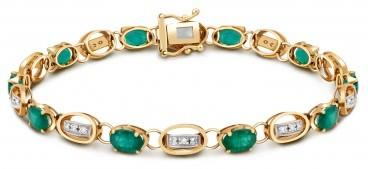 Браслет из комбинированного золота с бриллиантами и изумрудами (017505)