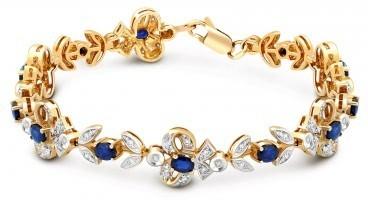 Браслет из комбинированного золота с бриллиантами и сапфирами (018275)