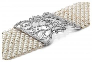 Браслет из белого золота с бриллиантами и жечугом (024234)