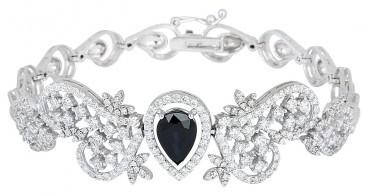 Браслет с сапфиром и бриллиантами из белого золота (010174)