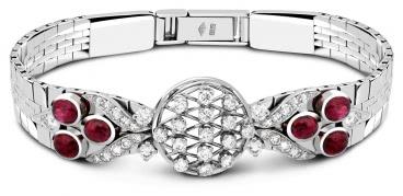 Браслет из белого золота с бриллиантами и рубинами (023544)
