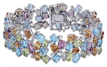 Эксклюзивный браслет с бриллиантами из белого золота (003067)