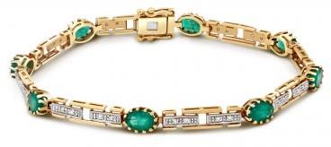 Браслет из комбинированного золота с бриллиантами и изумрудами (017507)