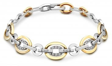 Браслет из комбинированного золота с бриллиантами (015532)