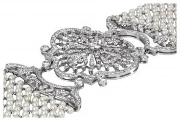 Браслет из белого золота с бриллиантами и жечугом (024233)