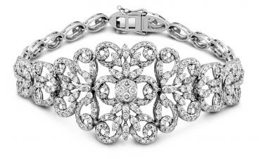 Эксклюзивный браслет из белого золота с бриллиантами (011432)