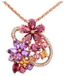 Колье из красного золота с бриллиантами и полудрагоценными камнями (015209)