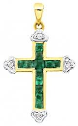 Кулон крест из комбинированного золота с бриллиантами и изумрудами (017009)