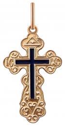 Кулон крест из красного золота с эмалью (022939)