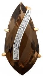 Кулон из комбинированного золота с бриллиантами и раух-топазом (021363)