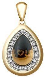 Кулон из желтого золота с бриллиантами и дымчатым кварцем (021368)