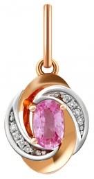 Кулон их комбинированного золота с бриллиантами и розовым сапфиром (010678)