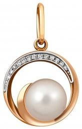 Кулон из комбинированного золота с бриллиантами и жемчугом (011524)