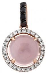 Кулон из комбинированного золота с бриллиантами и розовым кварцем (011481)