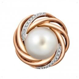 Кулон из комбинированного золота с бриллиантами и жемчугом (011464)