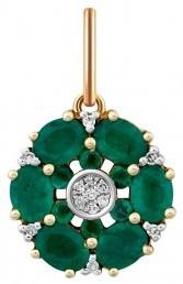 Кулон из комбинированного золота с бриллиантами и изумрудами (011454)