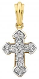 Кулон крест из комбинированного золота с бриллиантами (015221)