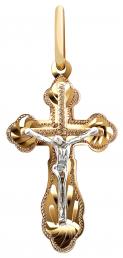 Кулон крест из комбинированного золота (013063)