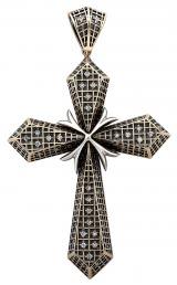 Кулон крест из комбинированного золота с бриллиантами (002936)