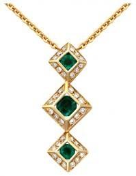 Колье из желтого золота с бриллиантами и изумрудами (015439)