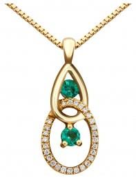 Колье из желтого золота с бриллиантами и изумрудами (015224)