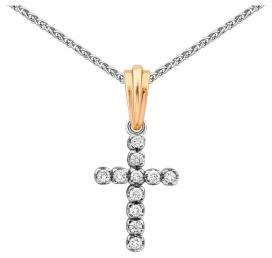 Колье крест из комбинированного золота с бриллиантами (015223)