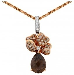 Колье из комбинированного золота с бриллиантами и раух-топазом (015445)