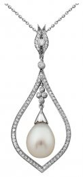Колье из белого золота с бриллиантами и жемчугом (002417)