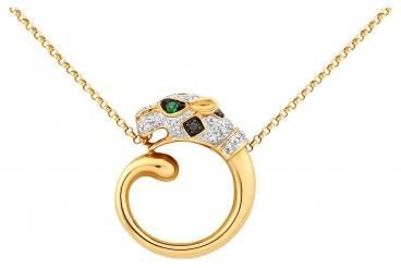 Колье из желтого золота с бриллиантами и изумрудами (020043)