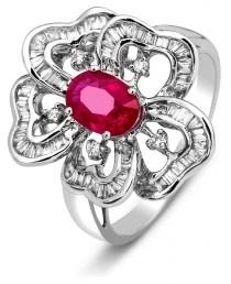 Кольцо с бриллиантами и рубином из белого золота (003050)