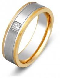 Обручальное кольцо из комбинированного золота с бриллиантом (000202)