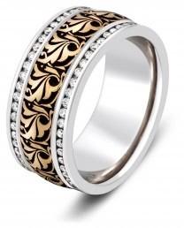 Обручальное кольцо из белого золота с бриллиантами (003888)