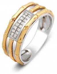Обручальное кольцо из комбинированного золота с бриллиантами (000590)