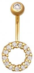 Пирсинг из желтого золота с фианитами (020071)